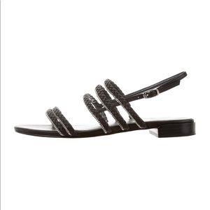 Stuart Weitzman Braided Chain Embellished Sandals